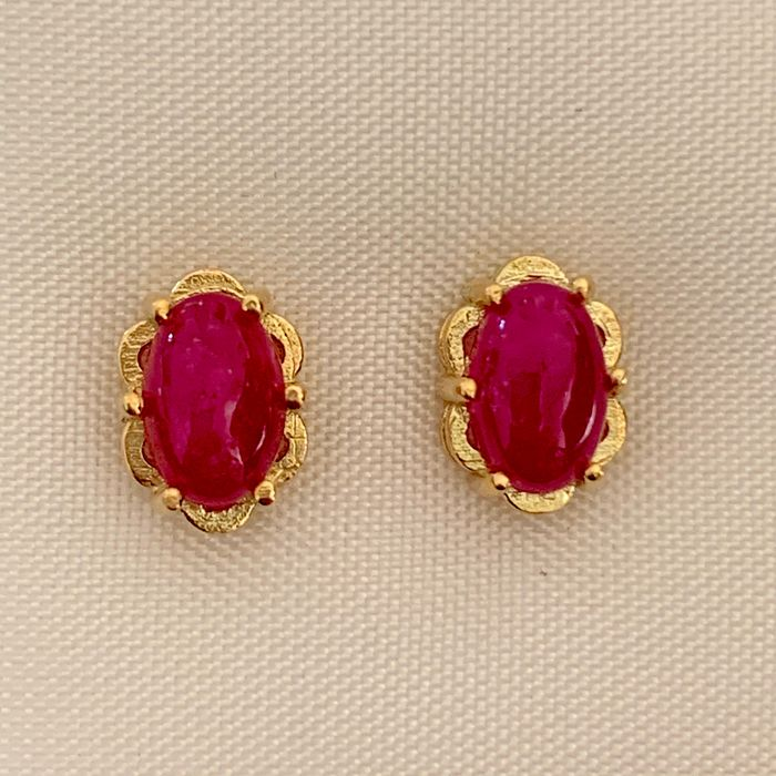 14 kt. Yellow gold - Earrings - 1.24 ct Ruby