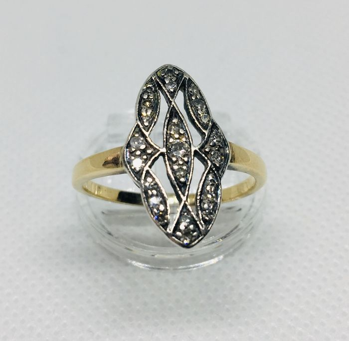 18 kt Gold, Silber - Ring Diamant