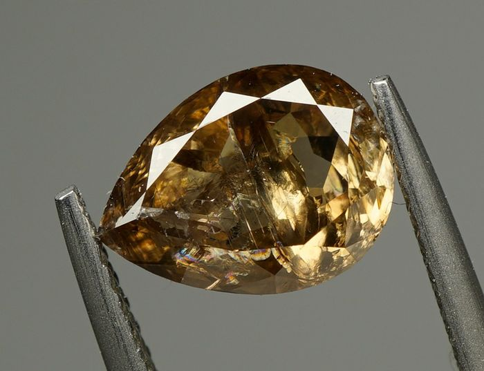 1 pcs Diamante - 2.47 ct - PERA BRILHANTE - NATURAL FANCY DEEP YELLOWISH BROWN - I2- No Reserve
