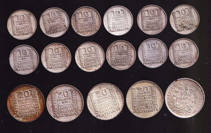 France - Lot de 17 monnaies (10 Francs & 20 Francs) 1929/1965 - Argent