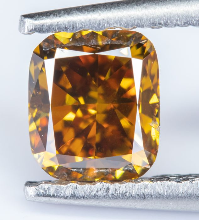 Diamante - 0.54 ct - Natural fantasia DEEP laranja amarelada - VS2  *NO RESERVE*