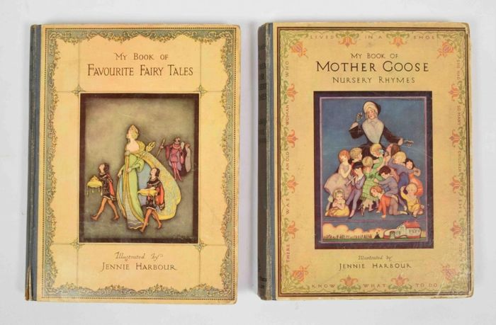 Jennie Harbour (ill) - My Book  of Favourite Fairy Tales (signed by Harbour) + My Book of Mother Goose Nursery Rhymes - 1920/1927