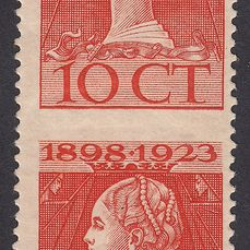 Netherlands 1923 - Wilhelmina government anniversary, vertical pair imperforate in between the stamp - NVPH 124Gva