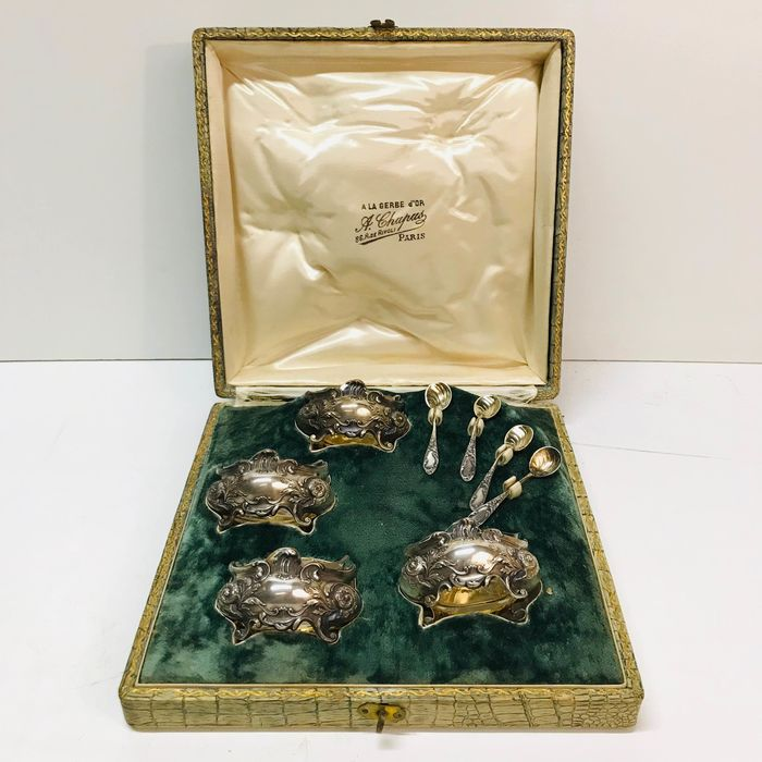 """Salt cellar, French Sterling Silver (950) """"ensemble de sel"""" set with silver spoons (12) - .950 silver - France - Late 19th century"""