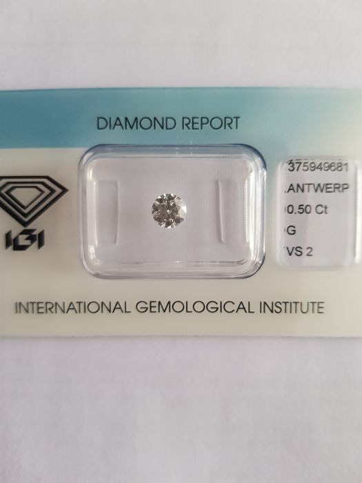 1 pcs Diamante - 0.50 ct - Brilhante - G - VS2