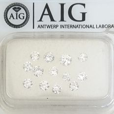 13 pcs 鑽石 - 1.01 ct - 圓形 - D (無色), E(近乎完全無色) - SI1, SI2, VS1, VS2, ***No Reserve Price***