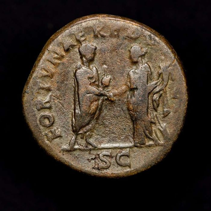 Romeinse Rijk - Sestertius - Hadrian (117-138 A.D.) Rome - FORTVNAE REDVCI Emperor clasping hands with Fortuna. - Orichalcum