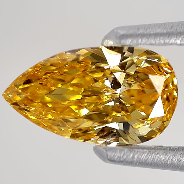 1 pcs Diamant - 0.75 ct - Birne - fancy intens orange yellow - VS2