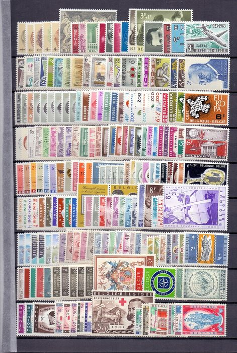 Belgium 1958/1970 - Six semi-complete years 1958-1963 and blocks up till 1970 - OBP / COB tussen 1046 en 1277 + BL32/48