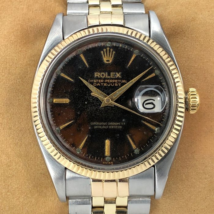 Rolex - Datejust Tropic Pie Pan Stick Arrowhead Dial - 6605 - Homme - 1950-1959