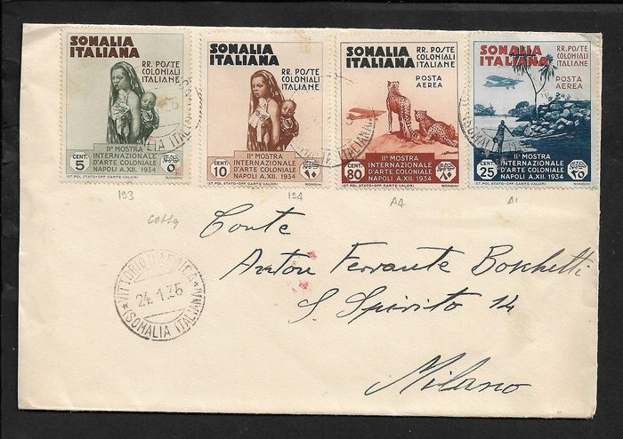 Italian Somalia - Art exhibition, 5, 10 cents regular mail and 25, 80 cents airmail on envelope from Vittorio d'Africa to Milan - Sassone NN. 193, 194, A1, A4