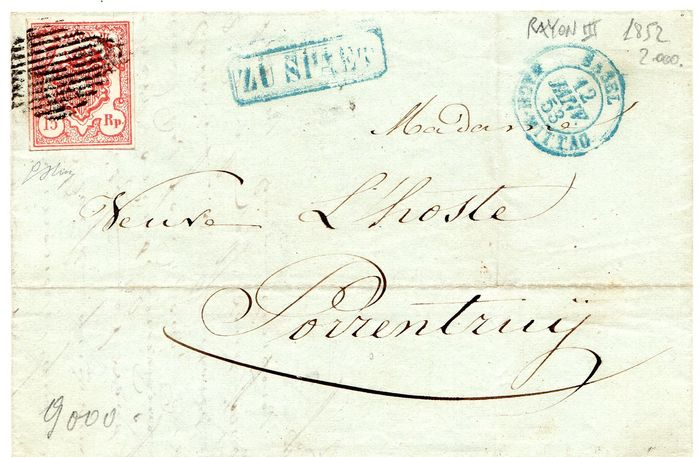 Switzerland 1852 - Rayon III letter from 12/01/1852 with 15 rappen isolated