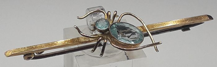Victorian Aquamarine Spider (2.50ct) - 9K Or jaune - Broche