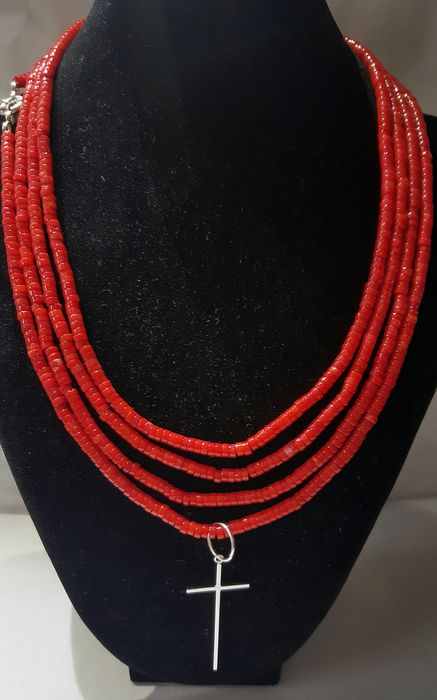 Silver cross and XL necklace - .925 plata, coral