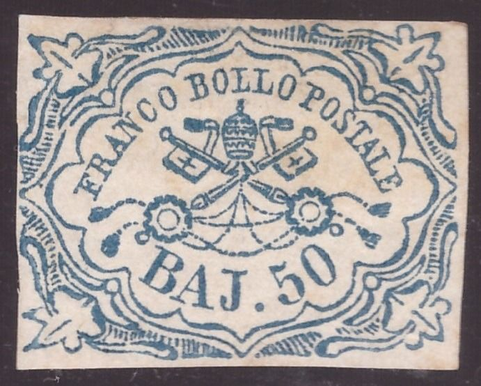 Päpstlicher Staat 1852 - 50 baj light blue first issue - Sassone N. 10