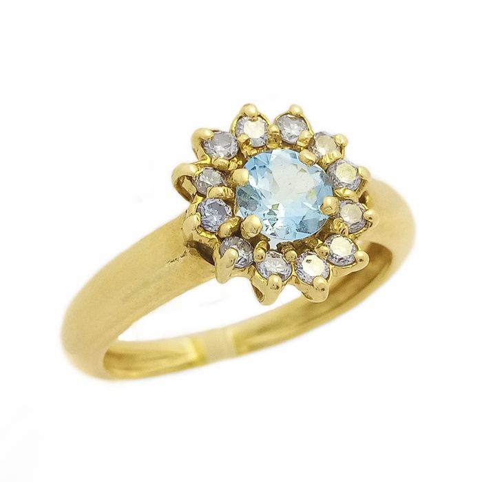 18 kt Gelbgold - Ring - 0.20 ct Aquamarin - Diamanten