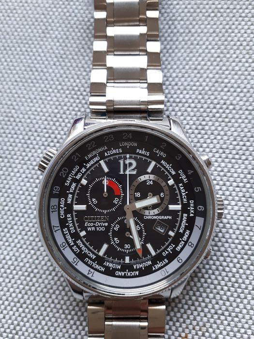 "Citizen - ""NO RESERVE PRICE"" Eco Drive World Time GMT Chronograph pilots watch  - AT0361-57E cal. H500 - Men - 2011-present"