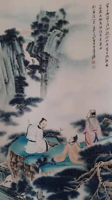 Inktschildering - Rijstpapier - 《张大千-高士图》Made after Zhang Daqian - China - Tweede helft 20e eeuw