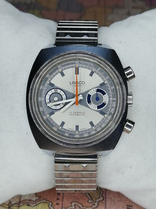 "Lanco - Chronograph Incabloc - ""NO RESERVE PRICE"" - 91013 - Heren - 1970-1979"
