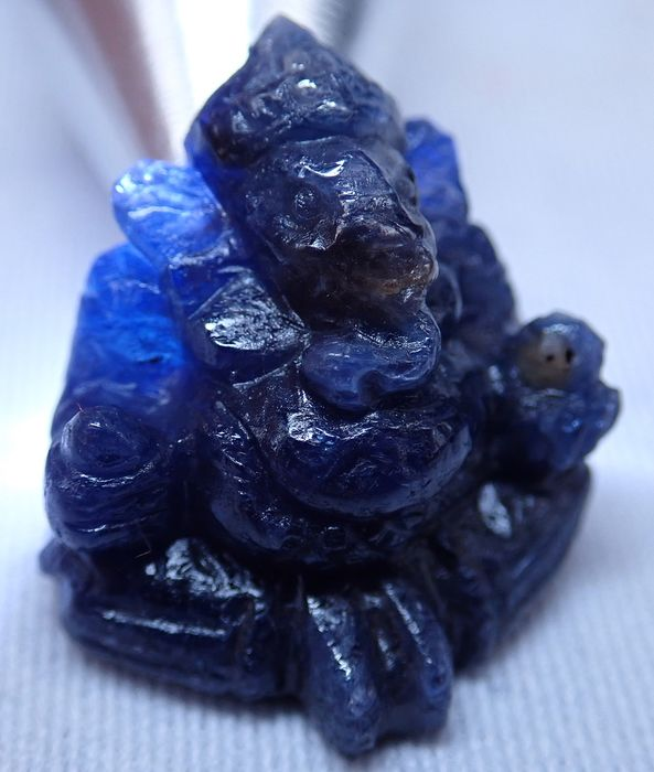 Deep Blue Sapphire Ganesha, Unheated 55.555ct - 18.91×22.04×18.7 mm - 11.111 g