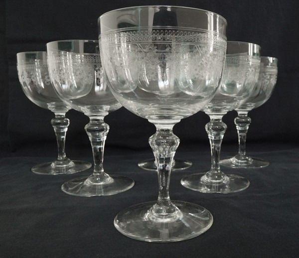 Baccarat - 6 water glasses with Pompadour engraved decor from the 1916 catalog (6) - Crystal