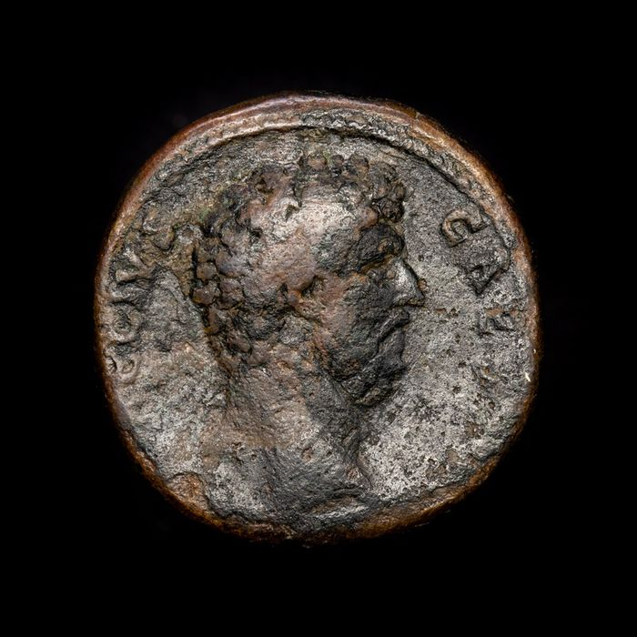 Roman Empire - Æ Sestertius -  Aelius (as Caesar AD 137) Pannonia holding vexillum in right hand, left hand on hip.  - Bronze
