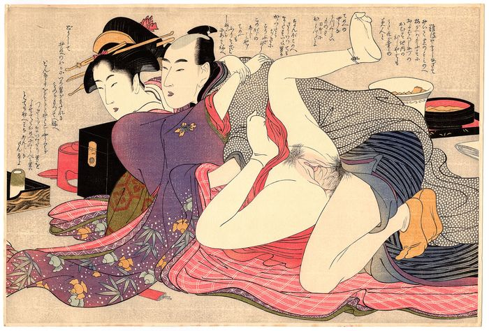 "Shunga, Woodblock print (reprint) - Kitagawa Utamaro (1753-1806) - Geisha and Amorous Man 芸者と色男 - From the series ""Unraveling the Threads of Desire"" 願ひの糸ぐち - 1920s - Japan"