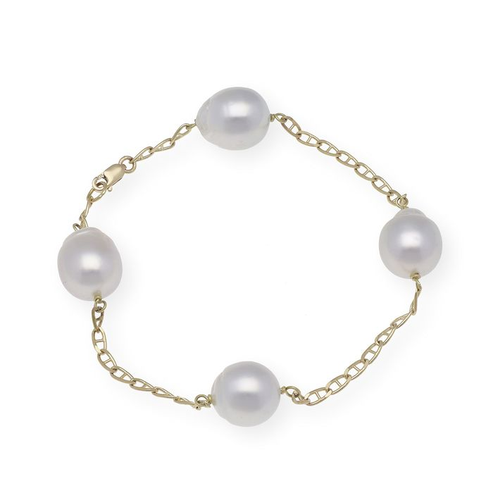 18 kt. Gold, South sea pearl, Between 10.10 to 10.60 mm - Bracelet