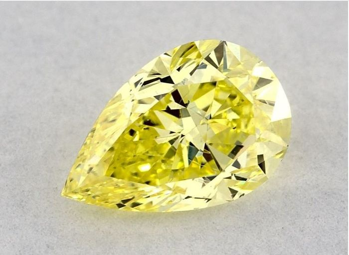 1 pcs Diamond - 1.04 ct - Pear - fancy intens yellow - I1