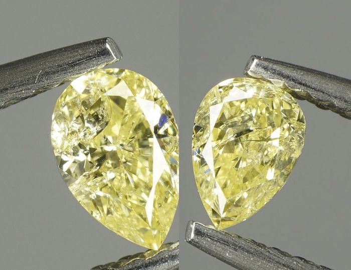 2 pcs Diamante - 0.56 ct - BRILLANTE PERA MODIFICADA - NATURAL FANCY INTENSE YELLOW - I1  No Reserve