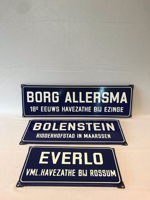 Borg Allersma + Bolenstein + Everlo - Straatnaam bord - Emaille