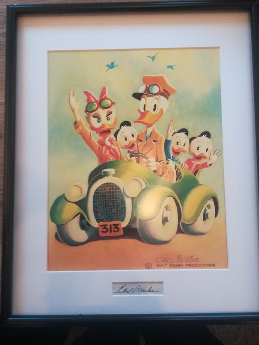 """Carl Barks, matted print with signature insert. - Framed and matted print with signature insert - """"Rumble Seat Roadster'"""" - anders"""