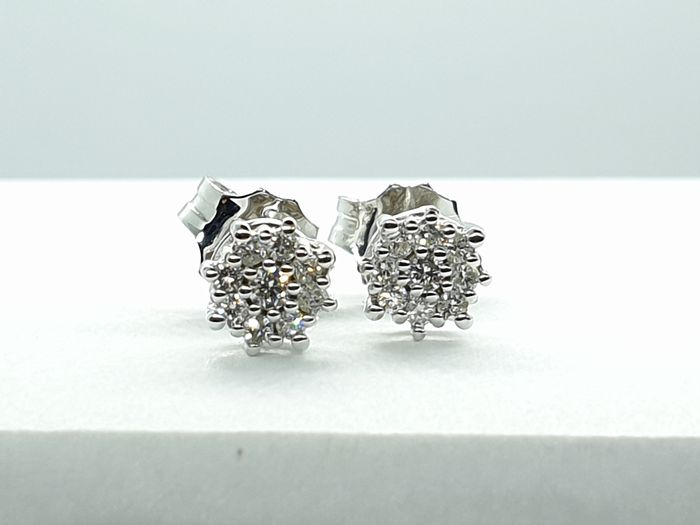 18 quilates Oro blanco - Pendientes - 0.26 ct Diamante - Diamantes