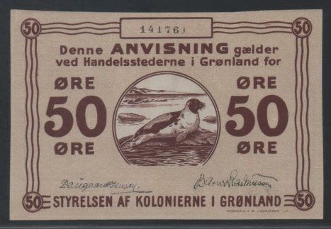 Groenland - 50 Øre ND (1913) - Small signature - Pick 12d