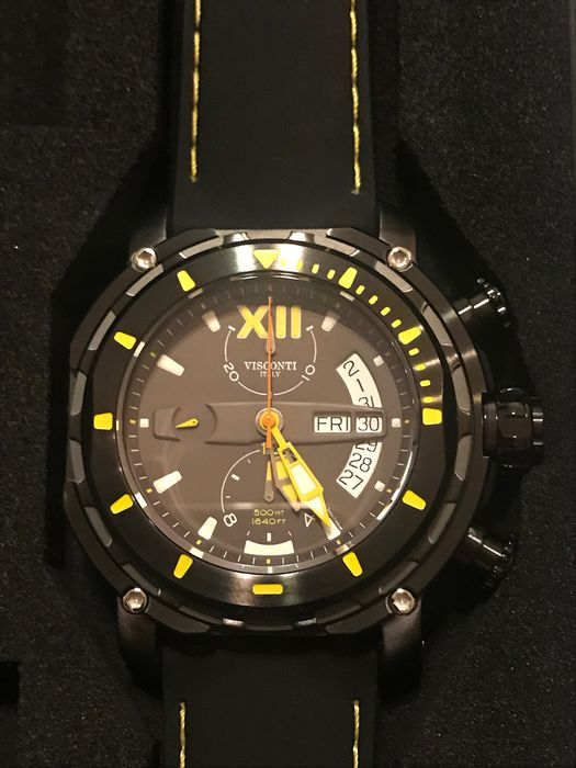 visconti - Full dive 500 chrono gun yellow tone rubber strap - KW51-05 - Homme - 2019