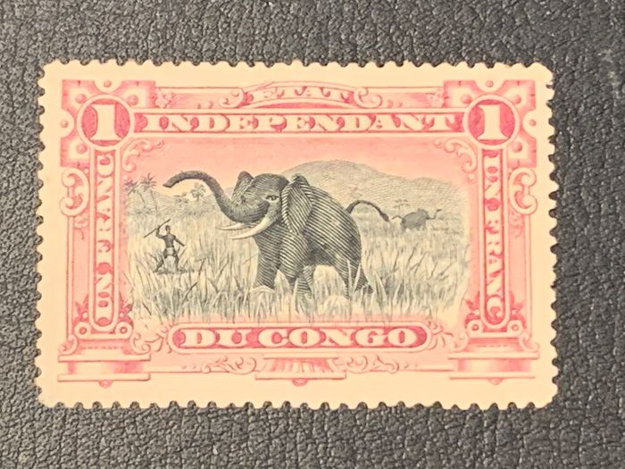 Congo Belga 1894 - Congo Independant - 1 franc LILAC (26aN2) - rare nuance (not listed in COB) - OBP / COB 26aN2