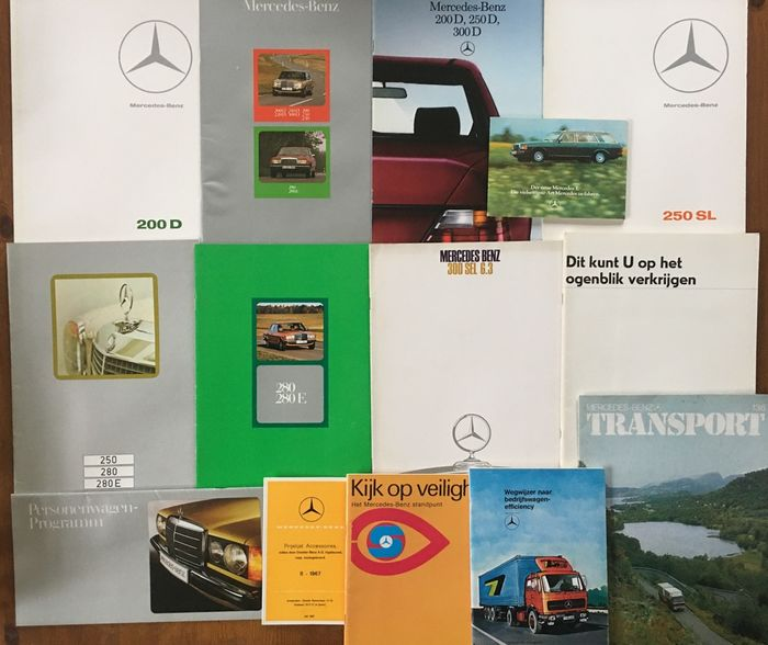 Brochures / Catalogues - 200, 220, 230, 240, 250, 250SL, 280, 300, 500, trucks - Mercedes-Benz - 1970-1980