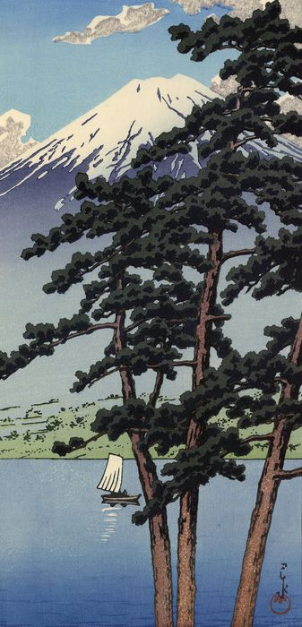 Original woodblock print, Published by Doi Eiichi - Kawase Hasui 川瀬 巴水 (1883-1957) - 'Kawaguchi mizuumi' 河口湖 (Kawaguchi Lake) - Heisei period (1989-2019) - Japan