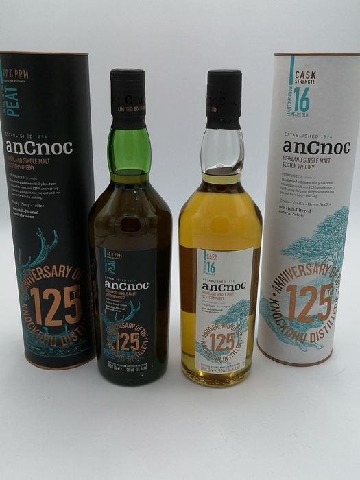 An Cnoc Peat 125th anniversary  & 16 years 125th anniversary - Official bottling - 700ml - 2 bottles