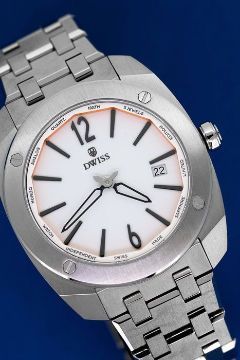 DWISS - Limited Edition White with Steel Bracelet Swiss Made - RS1-SW QUARTZ - Unisex - Brand New