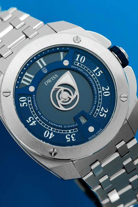 DWISS - Automatic Swiss Made Mysterious Time Collection Blue Stainless Steel - RC1-SL - Unisex - Brand New