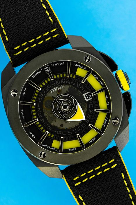DWISS - Limited Edition Automatic Signature Time Display Yellow with IP Black Case - RS1-BY - Men - Brand New