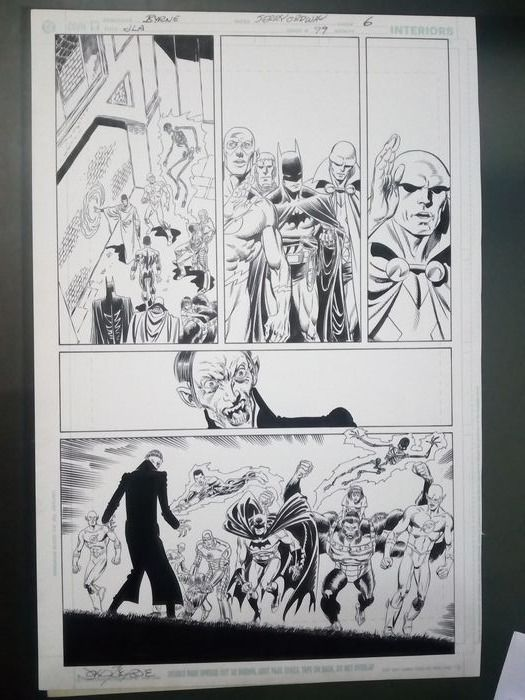 JLA  #99 - Page 7 - Original page by John Byrne - half splash full team - . - (1997)