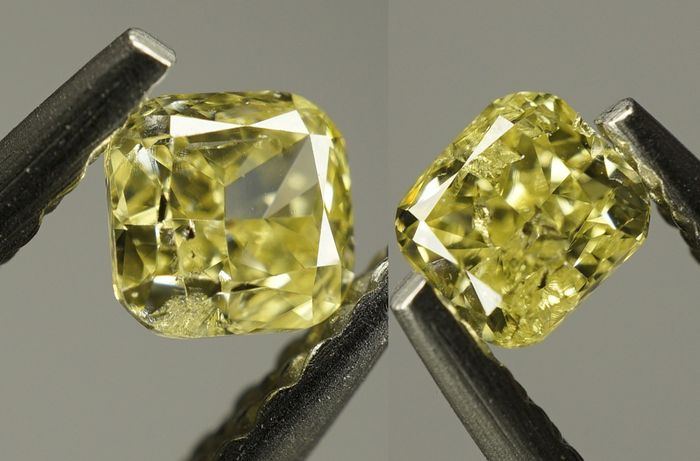 3 pcs Diamant - 0.64 ct - Coussin - Natural Fancy Yellow - SI2 No Reserve