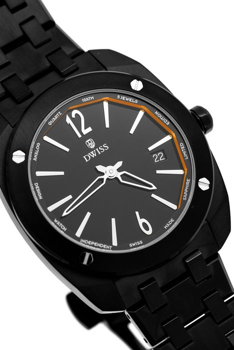 """DWISS - Limited Edition Black with Steel Bracelet Swiss Made - RS1-BB QUARTZ """"NO RESERVE PRICE"""" - Unisex - Brand New"""