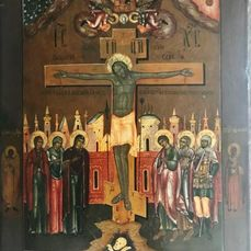 """Icon, Russian, """"Crucifixion"""" Moscow, Tempera 54X42.5X3.5 cm. - Wood - Second half 19th century"""
