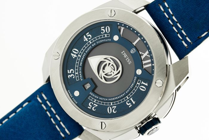 DWISS - Automatic Swiss Made Mysterious Time Collection Blue  Italian Leather Strap - RC1-SL - Herren - Brand New