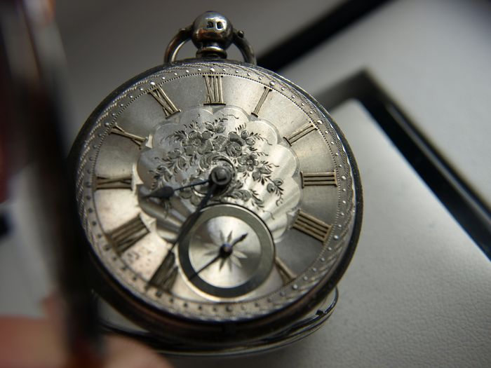 HWC Frodsham  Cheapside  -  Silver  2 caps case mechanism with Galla chain - spindle watch  - 33853 - Herren - '800