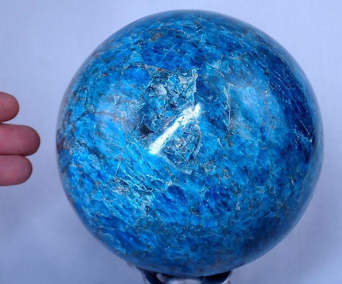 Large First Quality Intense Blue-Greenish Apatite Sphere - 144×144×144 mm - 4970 g