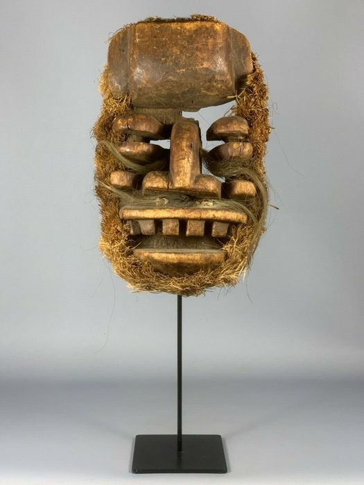 Old Mask - Cotton, Feathers, Metal, Wood - tribal used African - We Guere - Ivory Coast